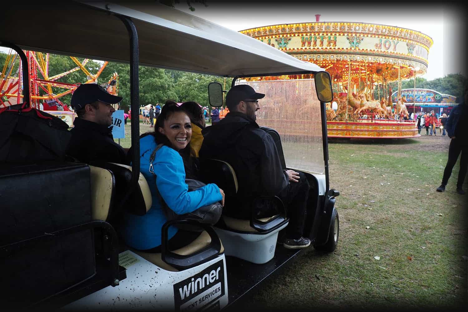 the band arriving at Victorious on a buggy